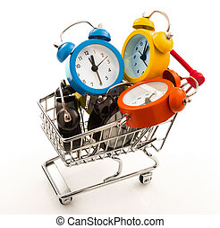 Color alarm clocks in the metal trolley