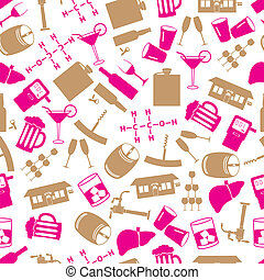color alcohol icons seamless pattern eps10