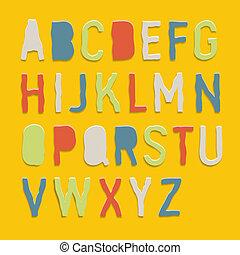 color, alfabetos, el hacer a mano, papel, hechaa mano