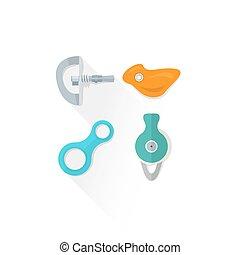 color alpinism equipment bolt hanger hold belay descender pulley icon illustration