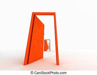 color anaranjado, puertas