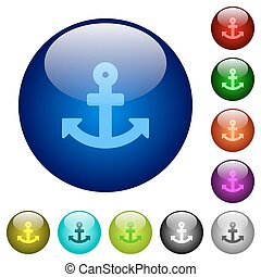 Color anchor glass buttons