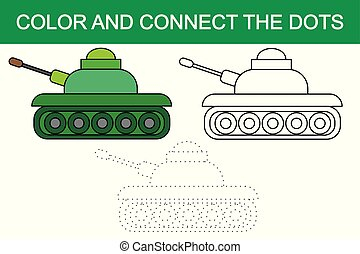 Color and connect the dots of image of cartoon tank (transport). Vector