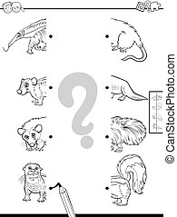 color animal, mitades, juego, libro, caracteres, igual