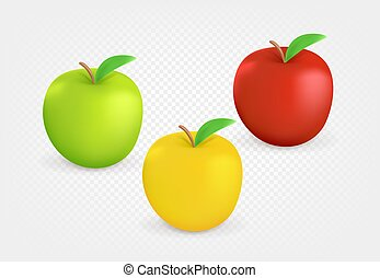 Color apples isolated on transparent background