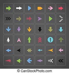 Color arrow buttons interface template