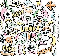 Color Arrow Doodle Drawings