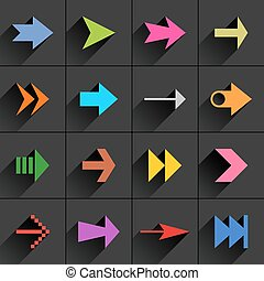 Color arrow icon flat sign with long shadow