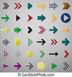 Color arrow icons. - Vector illustration of plain arrow...