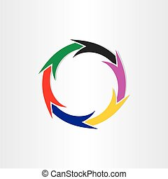 color arrows in circle motion concept