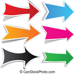 Color arrows sticker set. - .Sticky collection of paper...