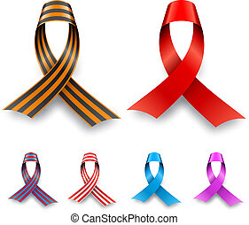 Color awareness ribbon set isolated on white background.