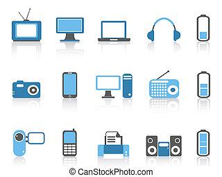 color, azul, serie, electrónico, iconos simples