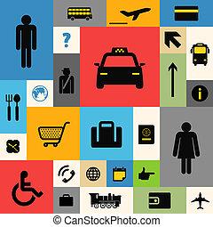 color, azulejo, iconos de viajar