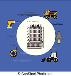 color background circular frame of building under constructions with tools for repair