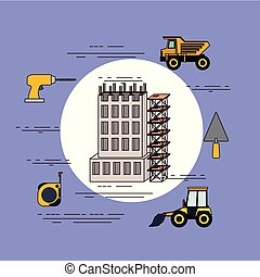 color background circular frame of set building under constructions and structure platform with tools around