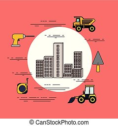 color background circular frame of set building under constructions with tools for repair
