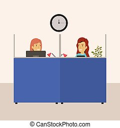 color background cubicles workplace office with female employees