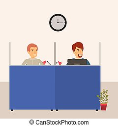 color background cubicles workplace office with male employees