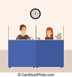 color background cubicles workplace office with man and woman employees