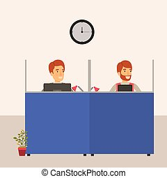 color background cubicles workplace office with man employees