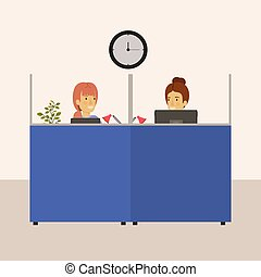color background cubicles workplace office with young lady and elderly woman employees