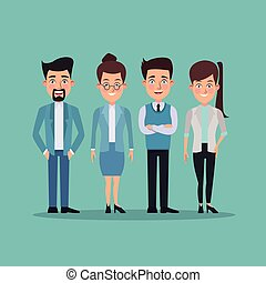 color background full body pair of women and men characters for business