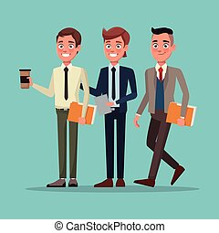 color background full body set of executive men