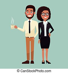 color background full body set pair of woman curly hair and bearded man characters for business