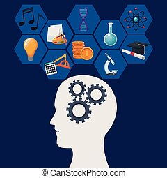 color background human head with mechanisms and geometric abstract figures icon knowledge