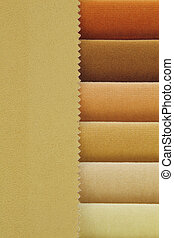 Color background of beige tones fabric samples