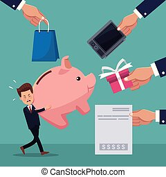 color background of businessman carrying a piggy bank with...