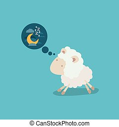color background of cute sheep thinking in the night