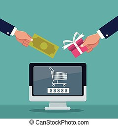 color background of executive hand holding a bill and gift with display computer shopping cart silhouette inside