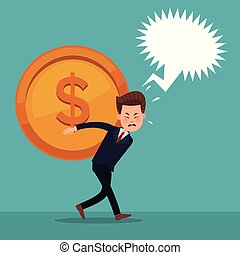 color background of executive man carrying coin with dialog...