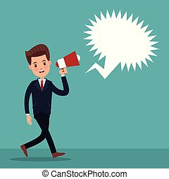 color background of executive man walking with megaphone and...