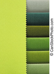 Color background of green tones fabric samples