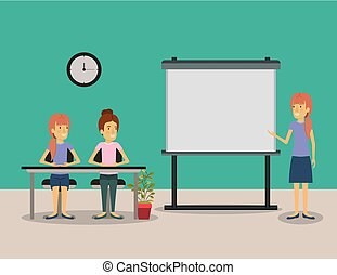 color background pair of women sitting in a desk for female executive lecturer in presentacion business people