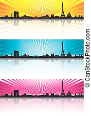 Color background Paris Skyline Silhouette