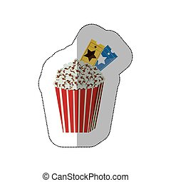 color background sticker of popcorn container with movie tickets inside