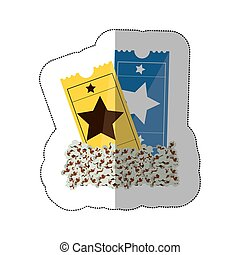 color background sticker with popcorn and movie tickets