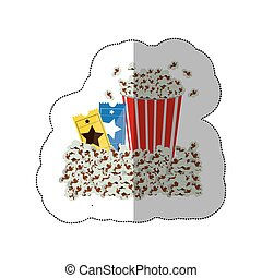 color background sticker with popcorn container and movie tickets