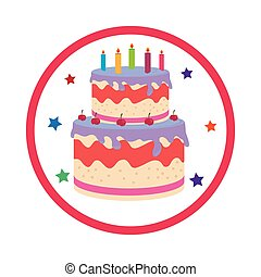 color background with birthday cake