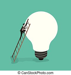 color background with businessman climbing wooden stairs in a big light bulb