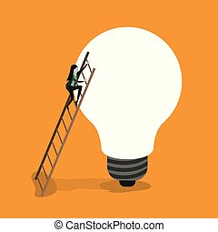 color background with businesswoman climbing wooden stairs in a big light bulb