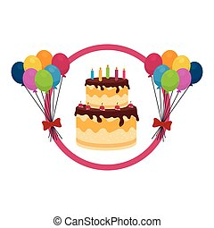 color background with cake and balloons