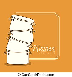 color background with frame vintage decorative and set silhouette stack of pots kitchen utensils