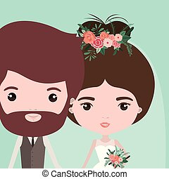 color background with half body couple of just married