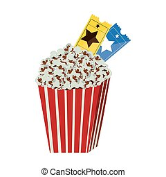 color background with popcorn container with movie tickets inside