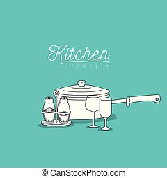 color background with set collection of silhouette kitchen...